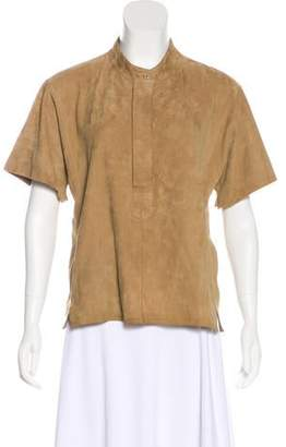 Closed Suede Short Sleeve Top