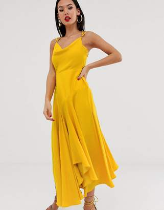 Forever New cowl neck midaxi slip dress in yellow