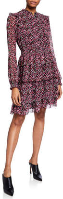 MICHAEL Michael Kors Floral-Print Long-Sleeve Ruffle Shirtdress