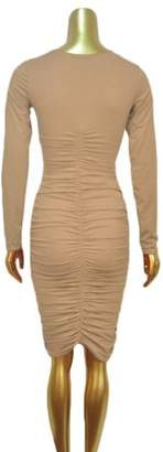 Feel Slim Women Round Neck Long Sleeve Evening Party Crinkle Sexy Dress Apricot