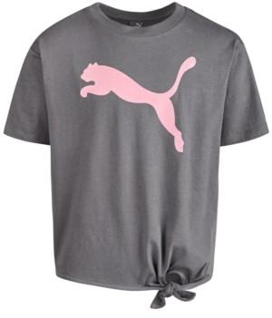 Puma North America Big Girls Logo-Print Tie-Hem T-Shirt