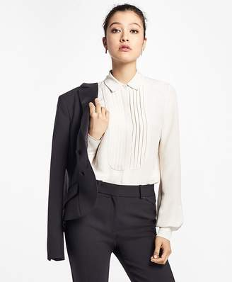 Silk Crepe Tuxedo Blouse $398 thestylecure.com