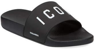 DSQUARED2 Men's Logo Rubber Slide Sandals, Black/White