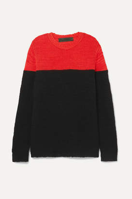 The Elder Statesman Dipped Picasso Two-tone Cashmere Sweater - Black