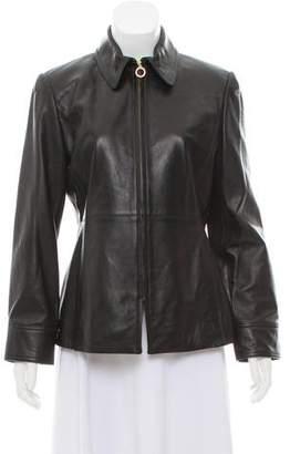 Ellen Tracy Leather Zip-Up Jacket