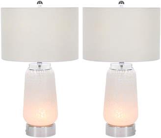 Uma Enterprises Set Of Two Glass Metal Table Lamps