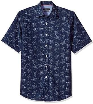 Bugatchi Men's Classic Fit Flower Print Short Sleeve Point Collar Shirt