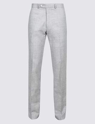Marks and Spencer Linen Miracle Slim Fit Textured Trousers