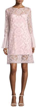 Tadashi Shoji Long-Sleeve Embroidered Overlay Cocktail Dress, Rosetta