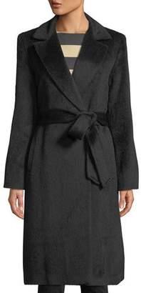 Sofia Cashmere Belted Wrap Coat w/ Notched Lapel