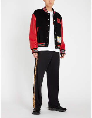Versace Striped wool-blend and leather jacket