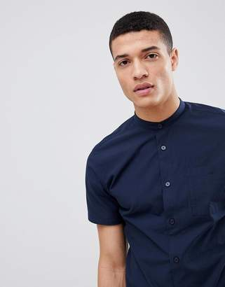 Selected Short Sleeve Grandad Collar Shirt