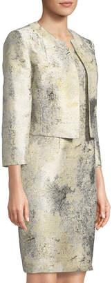 Albert Nipon Sleeveless Marble Sheath Dress w/ Jacket