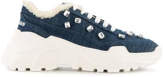 Joshua Sanders Zenith denim crystal sneakers