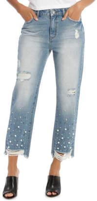 Grab NEW Jean with Pearl Detail Hem Mid Blues