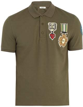 Valentino Embroidered-appliqué cotton-piqué polo shirt