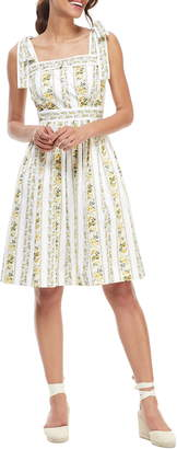 Gal Meets Glam Arina Floral Stripe Tie Shoulder Sundress