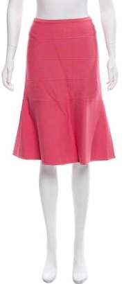 Herve Leger Flared Knee-Length Skirt