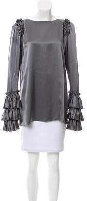 Thomas Wylde Silk Ruffle-Tiered Top w/ Tags