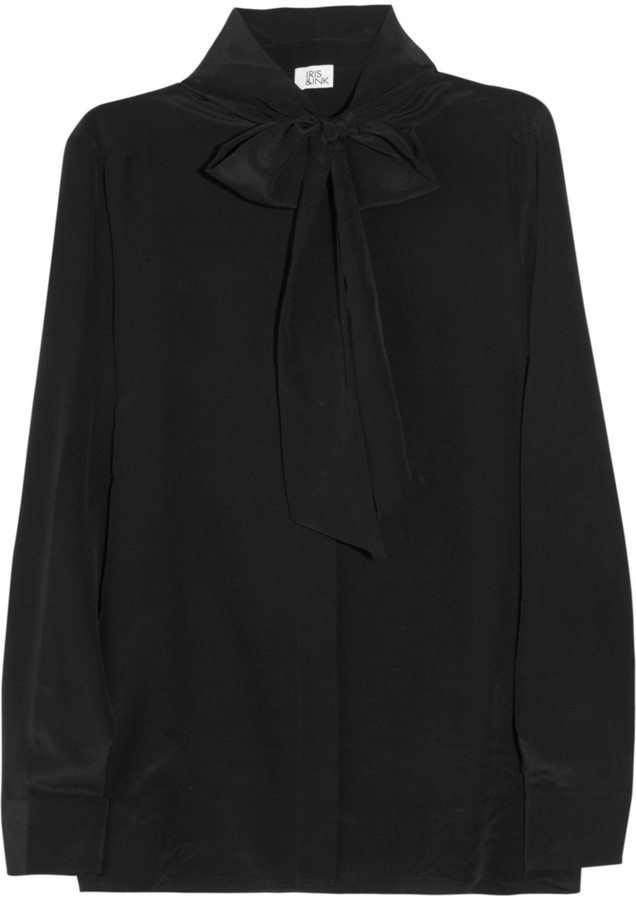 Iris & Ink Detachable pussy-bow silk-crepe blouse