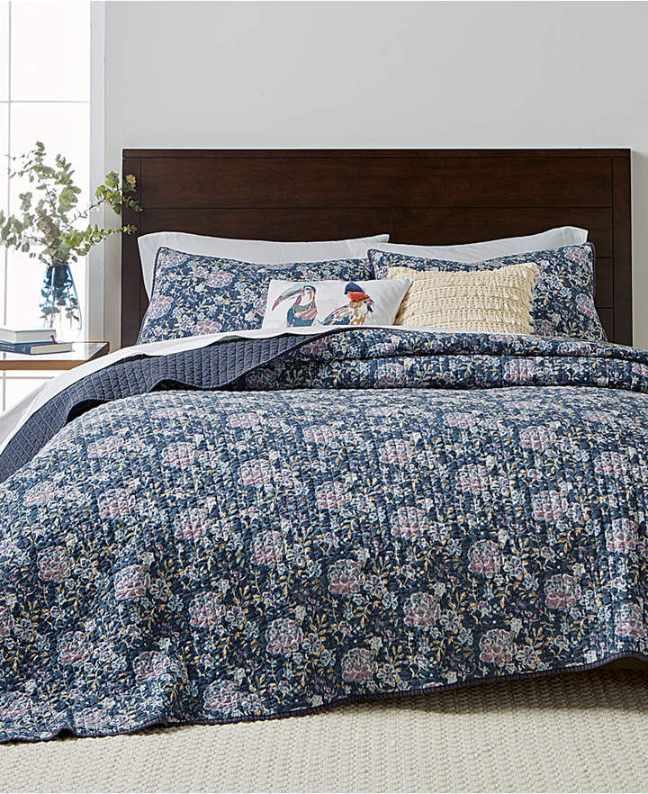 Martha Stewart Collection Iridescent Peony Reversible King Quilt, Created for Macy's
