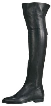 Prada Cervo Shine Flat Over-The-Knee Boot, Black