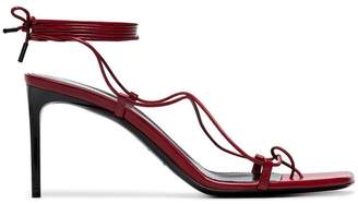 Saint Laurent red Paris 75 Naked leather strappy sandals