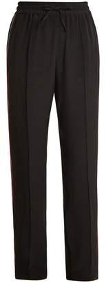 Serena Bute - Contrast Striped Straight Leg Silk Crepe Trousers - Womens - Black Multi