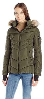 Madden-Girl Women's Puffer Jacket with Faux Fur Hood