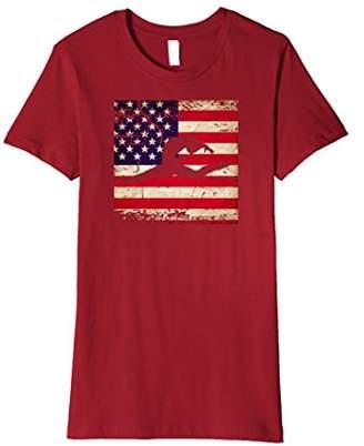 Women's Gymnastics Leap Distressed American Flag T-Shirt