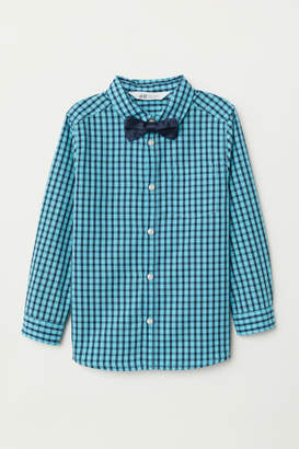 H&M Shirt with Tie/Bow Tie - Turquoise