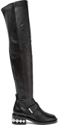 Nicholas Kirkwood Casati Embellished Leather Over-the-knee Boots - Black