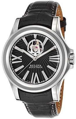 Accutron by Bulova 63 a101-sdメンズカークウッド自動ブラック本革and Sunray Dial