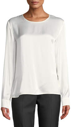 Max Mara Ezio Round-Neck Long-Sleeve Silk Satin Shirt