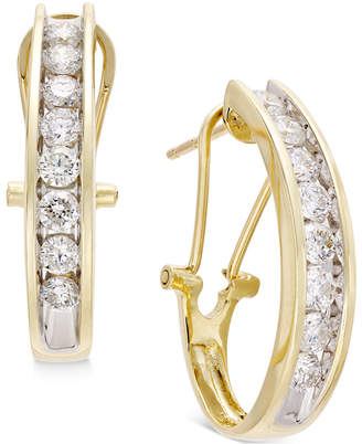 Macy's Diamond J Hoop Earrings (1 ct. t.w.) in 10k Gold or White Gold