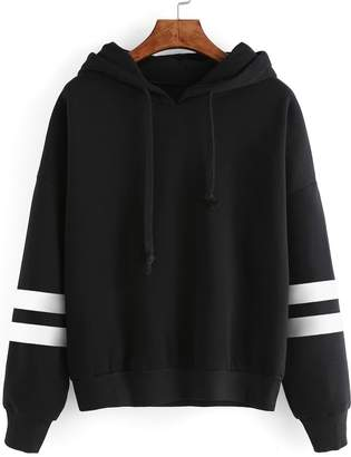 Shein Varsity Striped Drop Shoulder Hooded Sweatshirt