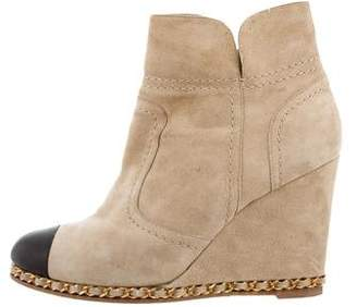 Chanel Suede Wedge Ankle Boots