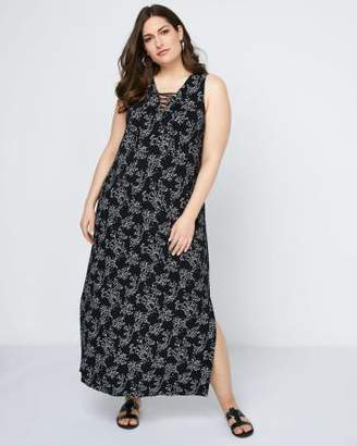 Penningtons Sleeveless Printed Maxi Dress with Lace-Up - In Every Story