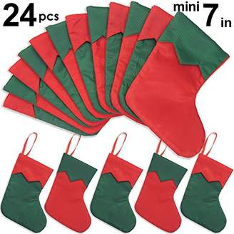 "Ivenf 24 Pack 7"" Twill Mini Christmas Stockings Gift Card Bags Holders"