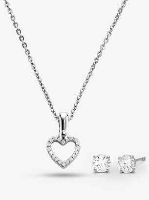 Michael Kors Precious Metal-Plated Sterling Silver Pave Heart Necklace and Stud Earrings Set