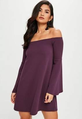 Missguided Purple Flared Sleeve Mini Dress