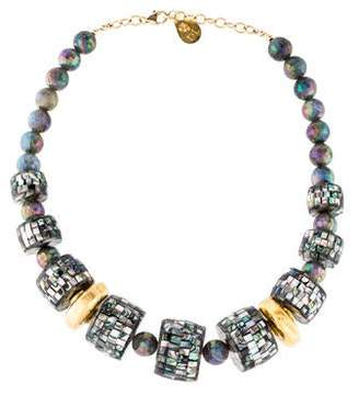Devon Leigh Aqua Aura Quartz & Abalone Bead Necklace