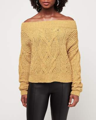 Express Cozy Chenille Off The Shoulder Cable Pullover Sweater