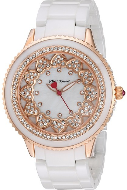 Betsey Johnson Betsey Johnson - BJ00622-03 - Pave Stones White Ceramic Band Watches