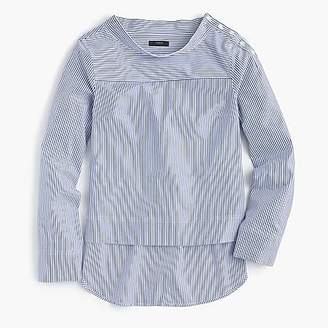 J.Crew Petite funnelneck striped shirt