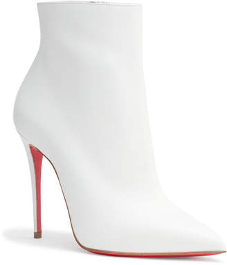 Christian Louboutin So Kate 100 White Leather Booties