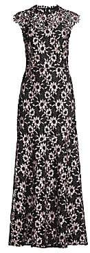 Shoshanna Women's Raven Floral Crochet Cap-Sleeve Gown - Size 0