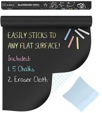 "Kassa Chalkboard Wall Sticker Decal Roll (Extra Large - 6.5' x 18"") - 5 Chalk & Eraser Cloth Included - Blackboard Paint Alternative - Adhesive Board Peel Stick Vinyl Wallpaper Contact Paper"