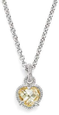 """Judith Ripka Sterling Silver Heart Necklace with Canary Crystal, 17"""""""