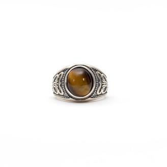 Serge Denimes Silver Amber Stone Ring
